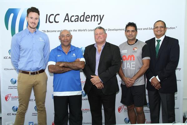 Will Kitchen ICC A Manager Mudassar Nazar ICC A Head of Development David East ECB CEO Aqib Javed UAE Head Coach Maqbul Dudhia DSC at the ICC A - ECB agreement announcement 2 Sept 2014