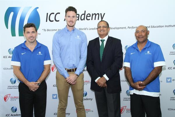 The launch of the ICC Academy coaching programme for 2014-15 with L-R Andy Russell ICC A coach Will Kitchen ICC A Manager Maqbul Dudhia Dubai Sports City GM - Sports Business Mudassar Nazar ICC A Head of Development