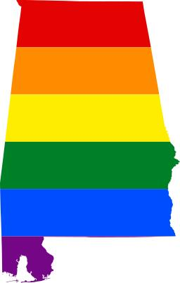 LGBT flag map of Alabama