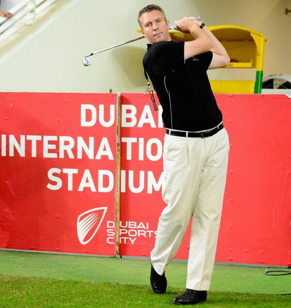 Chris Brown the General Manager of The Els Club at Dubai Sports City promotes the DUBAi Open during the Pakistan-New Zealand T20I at the Dubai International Stadium