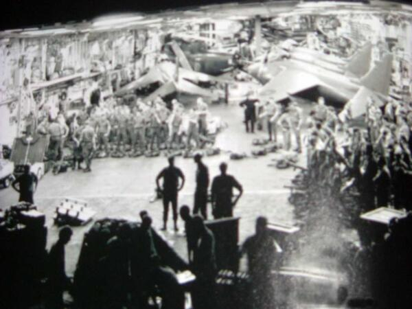 Briefing on Harrier Hangar Bay