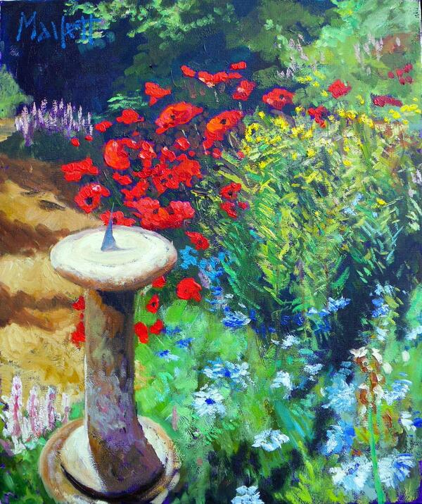 sundial and poppies
