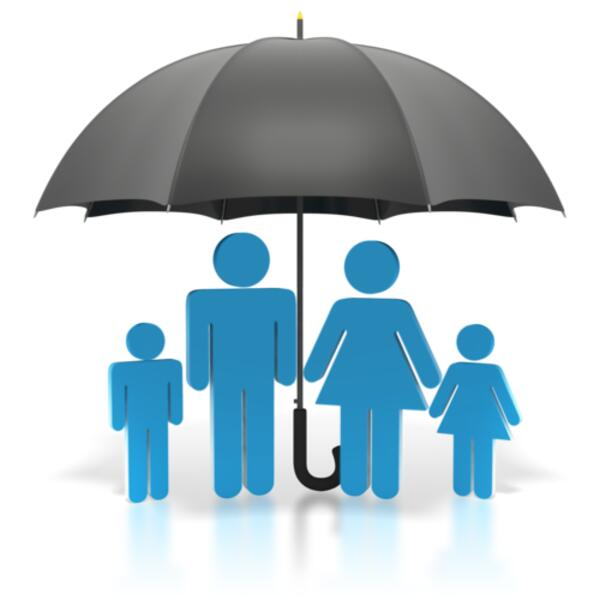 stick figure blue family umbrella