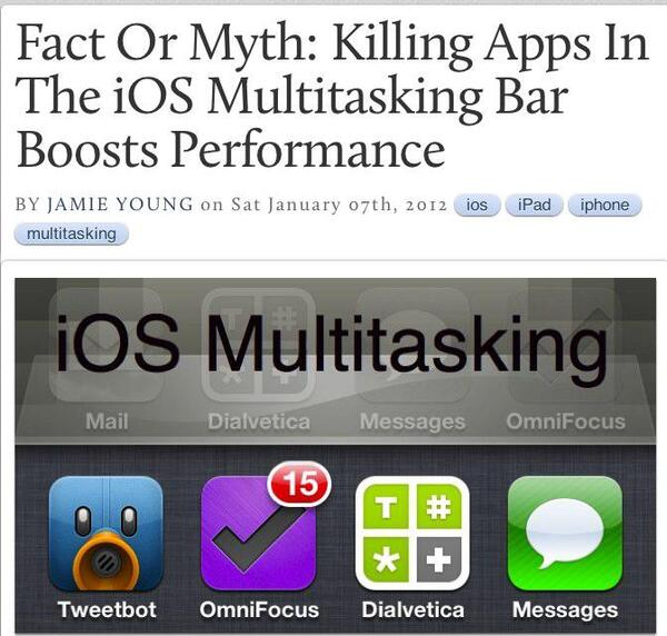 Fact Or Myth Killing Apps In The iOS Multitasking Bar Boosts Performance -- AppAdvice