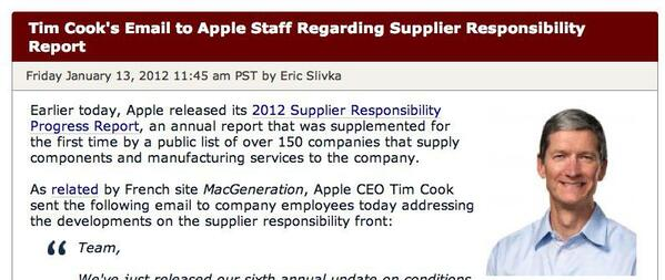 Tim Cook s Email to Apple Staff Regarding Supplier Responsibility Report - Mac Rumors