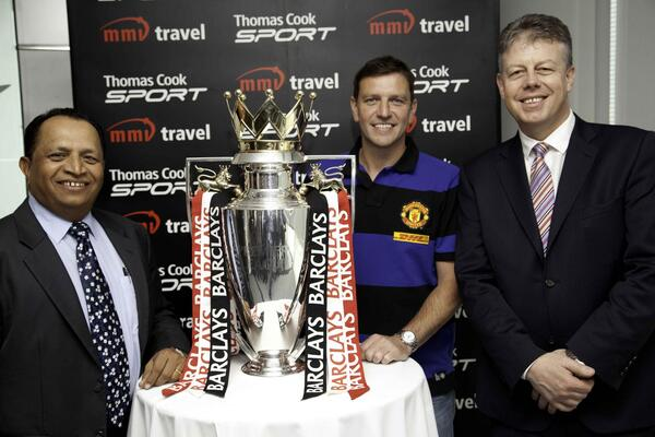 Pradeep Havaldar Head of Trade and Gulf Ventures MMI Sports Travel Lee Sharpe MUFC Danny Talbot Managing Director Thomas Cook Sport
