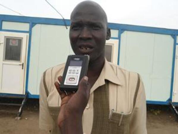 James Aleu Mijak speaking to Sudan Tribune near the local radio station in Bor June 20 2012 ST