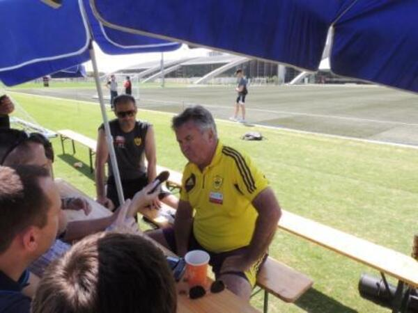 Guus Hiddink talks to media at Dubai Sports City I