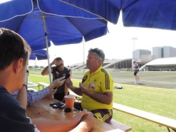 Guus Hiddink talks to media at Dubai Sports City II