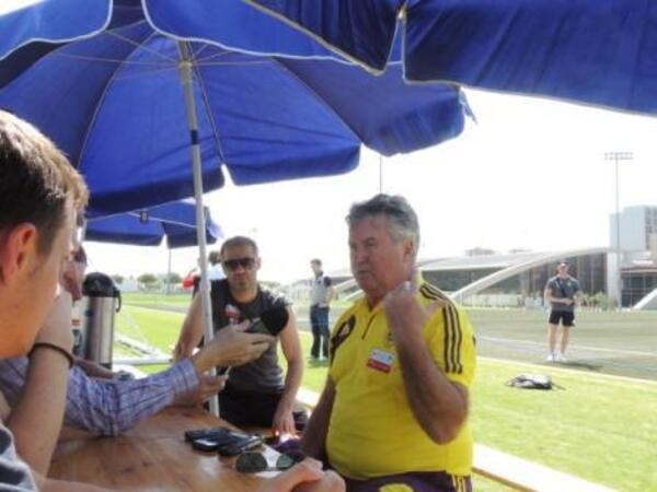 Guus Hiddink talks to media at Dubai Sports City III