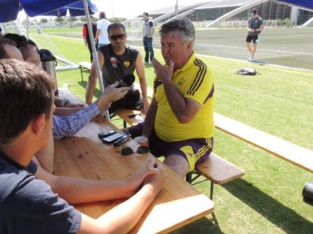 Guus Hiddink talks to media at Dubai Sports City IV