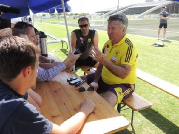 Guus Hiddink talks to media at Dubai Sports City V