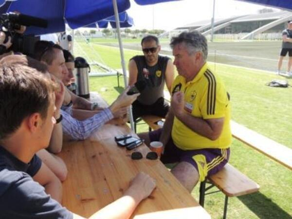 Guus Hiddink talks to media at Dubai Sports City VI