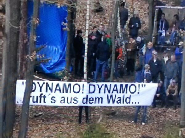 Dynamo fans outside Aue