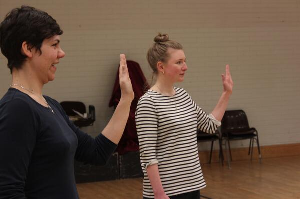 Elisa Amesbury and Rosie Stuart in rehearsals