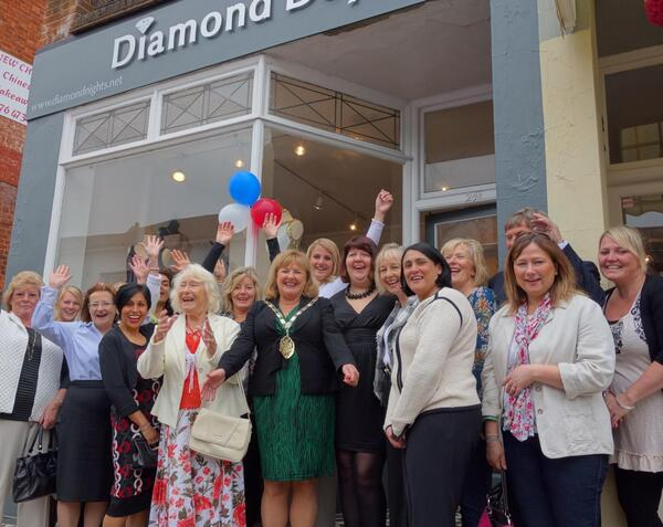 Happy crowd at Diamond Days boutique opening