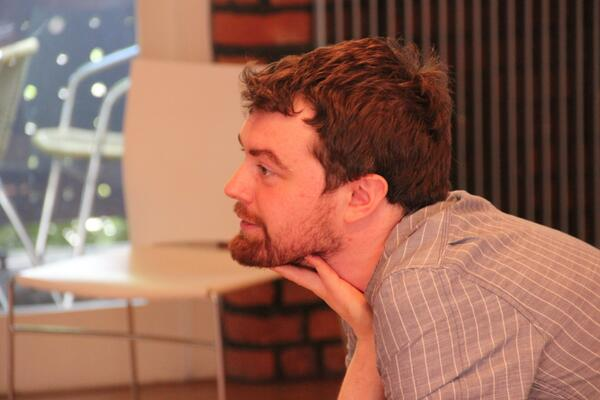 Adam Gilmore in the Honest rehearsal room