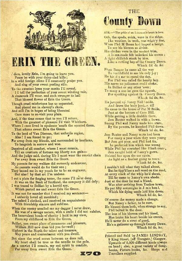 Early broadside broadsheet of Erin the Green also known as The Forger s Farewell