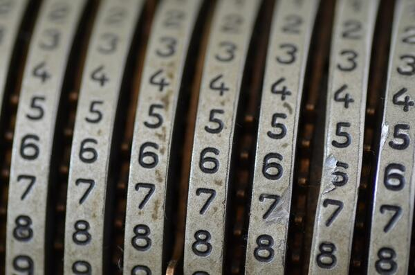 numbers on a mechanical calculator