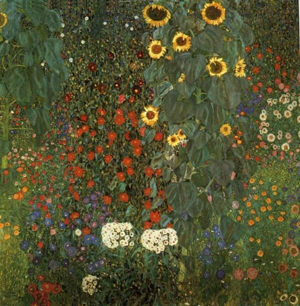 Gustav Klimt-Country Garden with Sunflowers-1905-1906