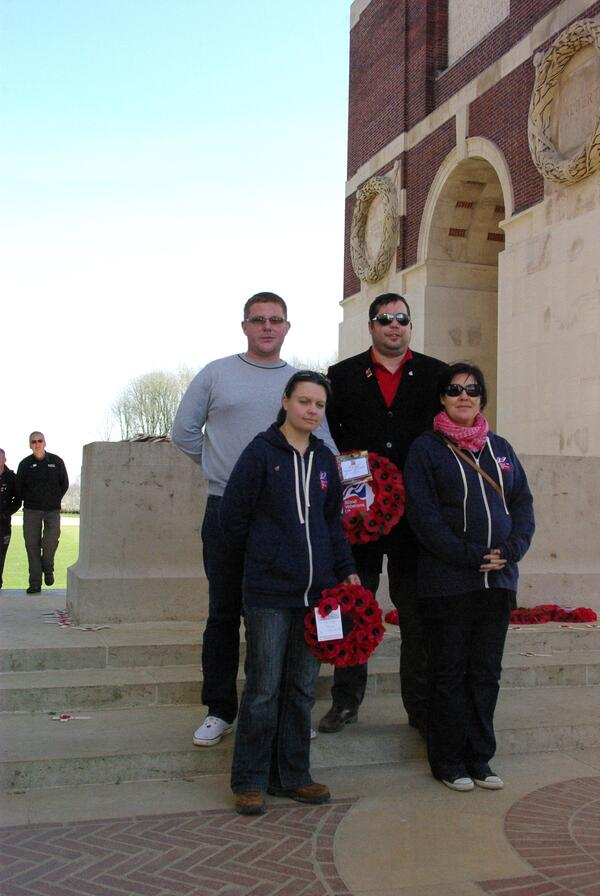 Paul Jacobs GM Simon Brown Kelly Hart and Louise Timms at the Thiepval Memorial to the Missing of the Somme