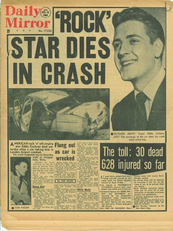Daily Mirror Eddie Cochran Death