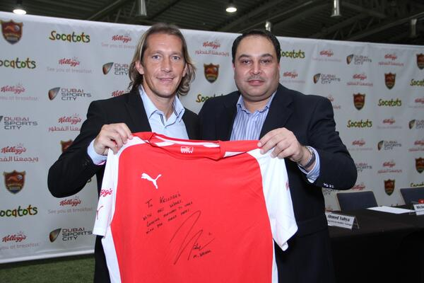 Dubai Sports City Football Academy Director of Football Michel Salgado and Kellogg s Marketing Director Ahmad Yahya at the launch of the DSC FA and Kellogg s partnership