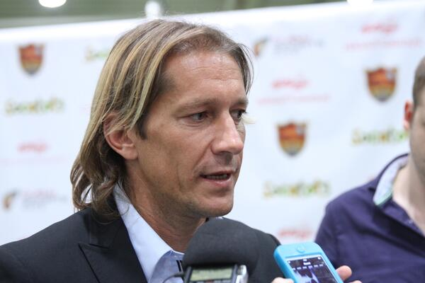 Michel Salgado the former Real Madrid and Spain legend and now Dubai Sports City Football Academy Director of Football speaks to media at the Indoor Dome