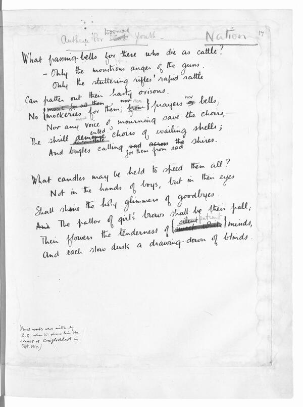 Wilfred Owen Anthem for doomed youth Used by permission of the Estate of Wilfred Owen