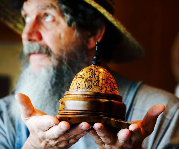 George Wurtzel with Wooden Egg