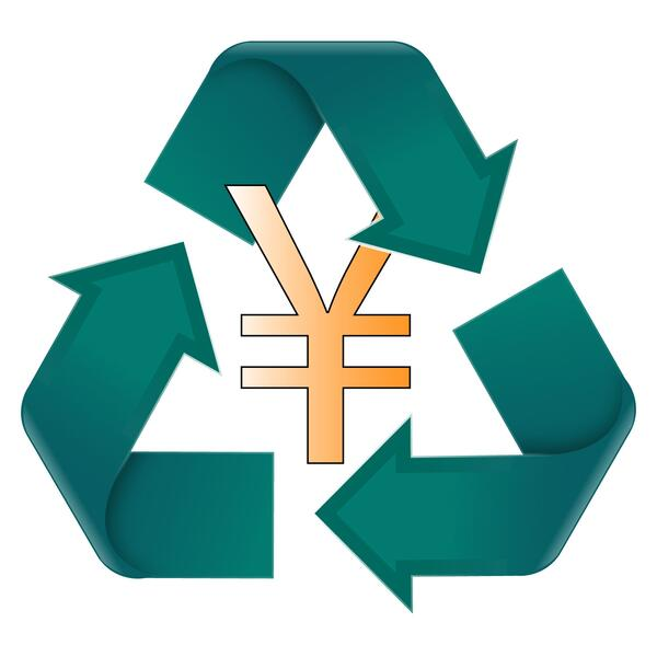 japanese recycling symbol yen