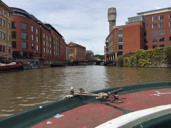Image shows View of Bristol city centre from river boat