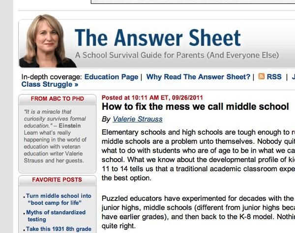How to fix the mess we call middle school - The Answer Sheet - The Washington Post