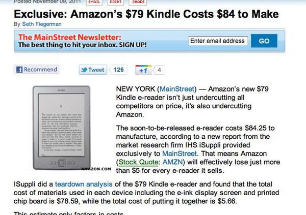 Exclusive Amazon s 79 Kindle Costs 84 to Make Technology Smart Spending Mainstreet