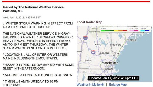 Local Weather Alert for 03908