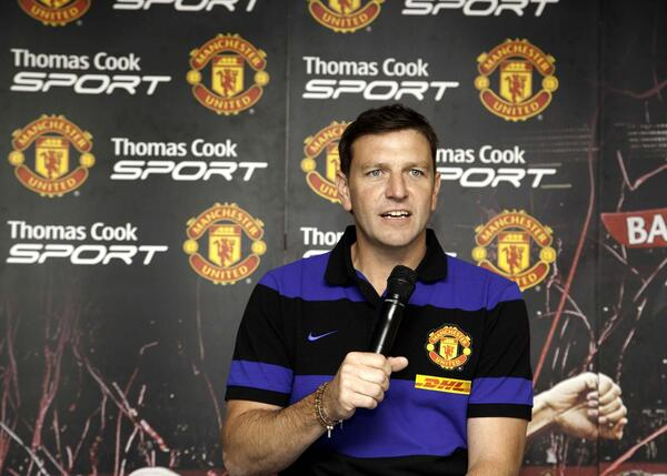 Lee Sharpe launching Thomas Cook Sport and MMI Travel supporter trips to watch Manchester Utd in the EPL 28 February