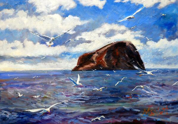 Bass Rock 28 x 20 oil on board