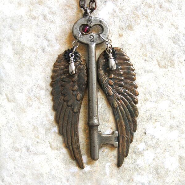 Steampunk Winged Skeleton Key by clockwork zero
