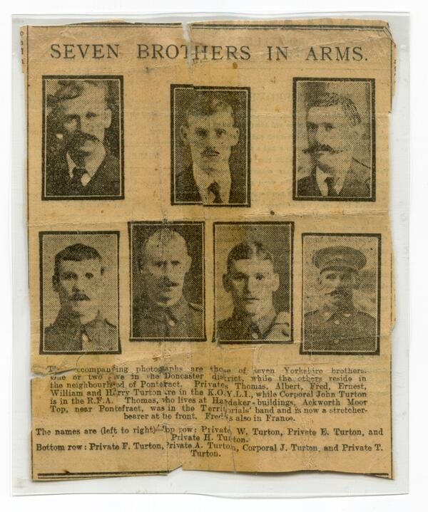 Seven Turton Brothers top. William Ernest Harry Bottom Fred ALbert John and Thomas NPIA011
