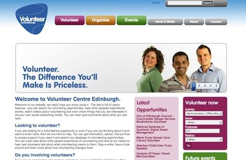 Edinburgh Volunteer Centre website